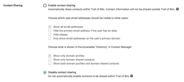 Disable contact sharing