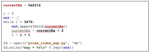 IDAPython script to dump prime index map