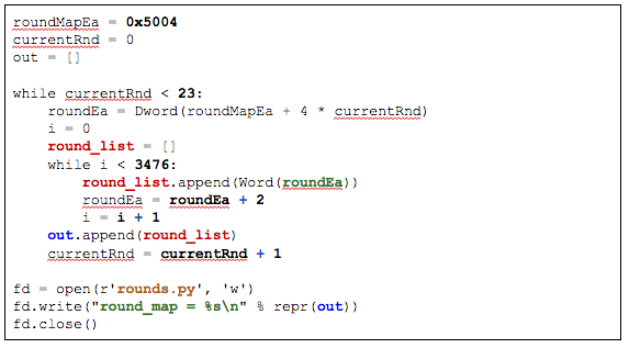 "IDAPython script to dump ""rounds"""